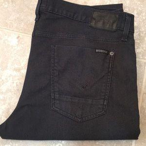Men's Hudson Blake Slim Straight Jeans Black w/dot